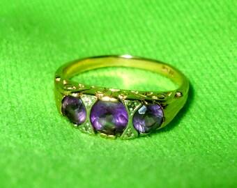 Vintage 14k Gold Triple Amethyst Diamond Filigree Scroll Ring Victorian Revival Purple Birthstone Yellow White Gold Anniversary 6.5 6 1/2