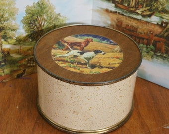 Unusual Vintage Metal and Wood Tin with Removable Top and Bottom, hunting dogs, wall plaque