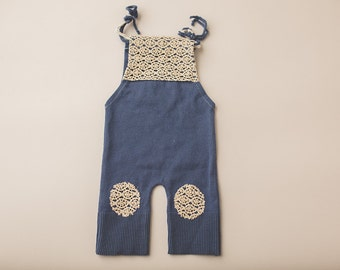 Steele Blue & Lace Patches Sweater Overall- Newborn Photography Overall Set