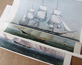 Sailing Ship Prints Nautical Currier And Ives Reprints From 1965 Calendar Vintage Yacht Prints New England New York
