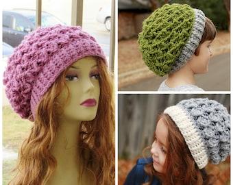 Crochet Hat Pattern, Crochet Slouch Hat Pattern, Crochet Beret Pattern, Baby to Woman,  Blair Slouch