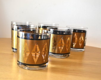 Mid Century Black and Gold Small Cocktail Glasses