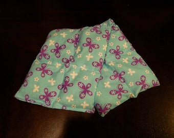 SALE, Rice Heating Pad / Ice Pack, Medium, Purple Butterfly