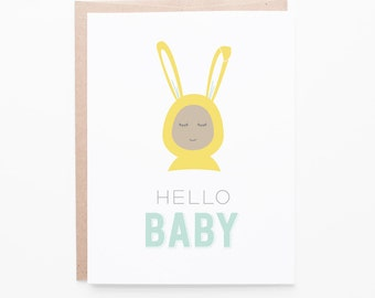 New Baby Bunny | New Baby Greeting Card | Brown or White Baby Option | A2 Size