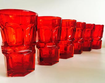 Fostoria Argus Red Ruby 11 oz Flat Bottom Tumblers