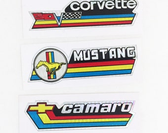 Vintage American Muscle Car Mustang Corvette Camaro Vending Machine Prism Sticker NOS 1980s Ford Chevy Lot