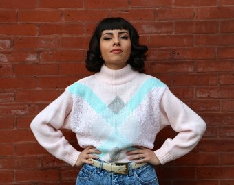 Free Shipping!: Vintage 1980s Light Pink Blue and White Mock Turtleneck Sweater