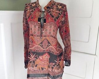 Vintage 70s Floral Boho Cotton Gauze Dashiki CAFTAN Ethnic HIPPY MiNi Dress INDIA