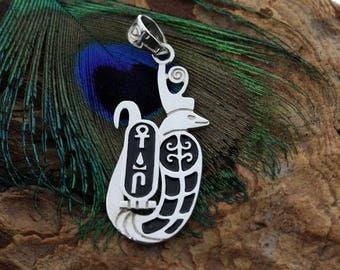 Egyptian Silver Royal Wadjet Snake With Ankh Wedja Seneb Pendant