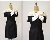 Sale 15% off Vintage 90s Party Dress Black Medium // 90s Vintage Cocktail Dress// Black and White Ruffle Prom Dress by EN Francais
