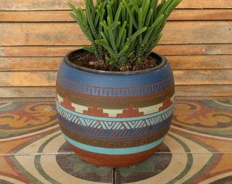 SALE Ceramic planter colorful pottery Navajo inspiration Carved  sgraffito Vase home deco geo  Aztec cactus planter boho decor one of a kind