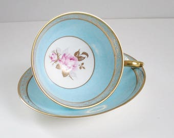 Aqua Tea Cup w Pink Roses, Vintage Turquoise Tea Cup and Saucer, Vintage Turquoise Blue Teacup and Saucer Set, Aynsley Aqua Tea Set