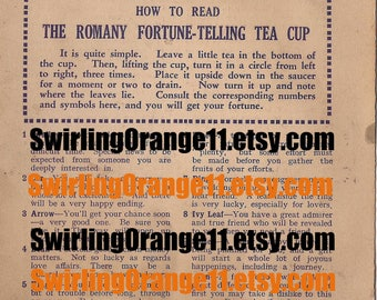 Romany Fortune Telling Tea Cup INSTRUCTIONS only, Digital Download Romany Fortune Telling Teacup, Tasseomancy Instruction Download