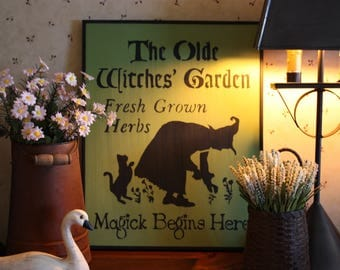 The Olde Witches Garden ( Summer/Fall Wall Sign )