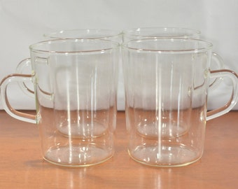 Schott Verran Made in Germany Industrial Glass Cups with Handles | Tempered Glass Mugs 8 ounces oz | Clear D Handle Mugs