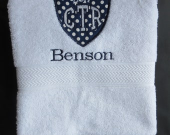 Personalized CTR White Towel With Navy Polka Dot Applique 2017