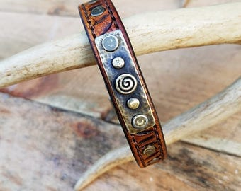 Leather Dog Collar Hand Dyed, Hand Carved and Hand Stitched Perfect for the Little Companion in your lifte