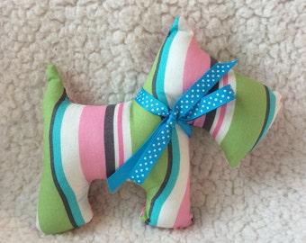 Stuffed Scotty Dog - plush - pink, gray, green, blue, white stripes