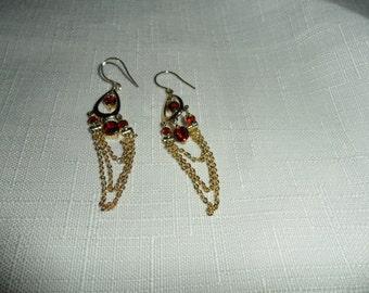 Vintage Garnet Dangle Earrings