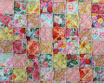 Floral Bouquet Rag Quilted Throw