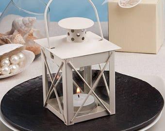 Set of 50 mini metal lantern favors, Love Lights the Way, Barn wedding, cream, candle, beach, outdoor, destination wedding, Party Favor