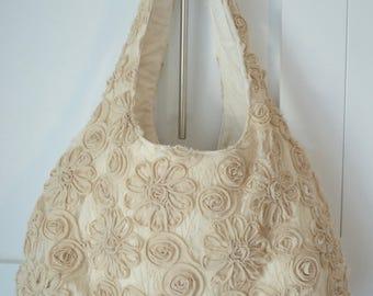Beige Floral Bag