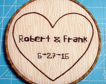 Wedding Embroidery Hoop, Names Carved Into A Tree, Custom Made & Hand Embroidered