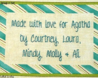Quilt Label - Aqua Striped, Custom Made & Hand Embroidered