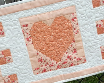 Mini Quilt, Candle Mat, Small Table Runner, or Wall Hanging, Peach  Floral Patchwork, Lovely Springtime Home Decor