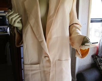1990 Donna Karen 100% silk cream colored Jacket with one button front and oversized pockets
