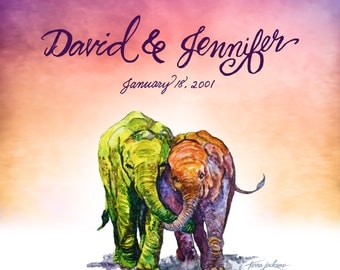 Personalized Kindred Spirits, elephants in sepia giclée print