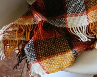 Vintage Australian Wool Blanket, Bright Colors, Woven Throw, Pure New Wool, Okaparinga