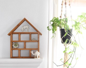 large solid wood house curio shadow box / wall hanging shelf
