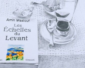 Drawing-Still life with book - Amin Maalouf book-Art print-blach and white drawing- giclee print