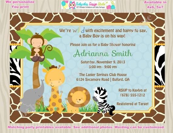 Safari Baby Shower Invitation Jungle Baby shwoer invitation Zoo Animal Baby Shower DIY Printable Digital