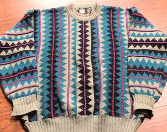Vintage 1980's Hang Ten Colorful Textured Crew Neck Sweater,  Men's XL 1980's Colorful Geometric Sweater, Teal , Purple Gray