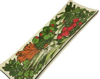Kitschy Mid Century Crudite Vegetable Olive Hor D'oeuvres Rectangle Tray