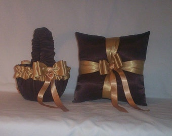 Chocolate Brown Satin With Gold Ribbon Trim Flower Girl Basket And Ring Bearer Pillow Set 2