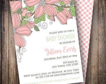 Floral Baby Shower Invitation, Floral Baby Shower Invite, Printable Baby Shower Invitation - Cascading Flowers in Pink and Green