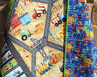 Baby Boy Quilt, Construction Bedding, Nursery Crib Blanket, Dozer, Dump Truck, Tractor, Red Blue Green, Reversible, Transportation Vehicles