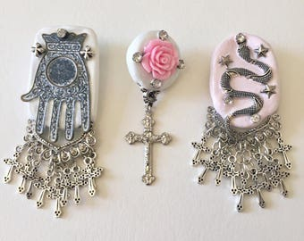 set of 3 mystical pins, hand of god, rose & cross, and serpent brooch , handmade, anniemjewelry