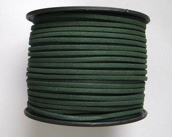 Faux Suede  Cord Leather Flat  Forest Green 3x1.5mm-20ft