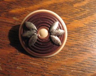 Vintage 1940's Tiki Button - Vintage Polynesian Style Sewing Trim Unusual Button
