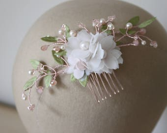 Rose gold and blush floral hair comb, beads and pearls, blush flowers, bridal hair comb - *Flossy*