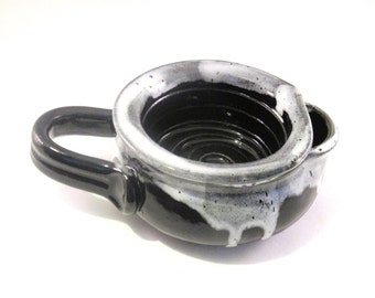 Shaving Scuttle - Shave Mug - Lather Bowl - Handmade Pottery - Pottersong - Comfort Hot Wet Shave - Black and White - Grey - Gift for Him
