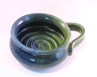 Shaving Mug - Green and Blue - Shave Mug - Lather Bowl - Ridges for Good Soap Lather - Handmade Pottery - Denim Blue - Bright Green