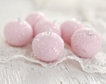 Spun Cotton Gumdrops - Mini Baubles - Glittered Pink Ornaments, 6 Piece Boxed Set