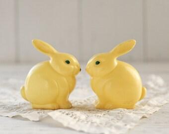 Vintage Plastic Easter Bunny Decorations - Pair of Yellow Knickerbocker Plastic Co. Bunnies