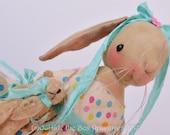 PRIMITIVE bunny rabbit doll Easter, Spring, original design by robin Seeber