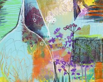Intuitive Art Print   Lavendar Crinkles